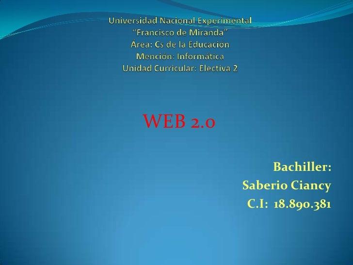 """Universidad Nacional Experimental""""Francisco de Miranda""""Área: Cs de la EducaciónMención: InformáticaUnidad Curricular: Elec..."""