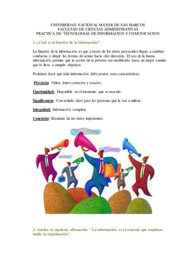 UNIVERSIDAD NACIONAL MAYOR DE SAN MARCOS FACULTAD DE CIENCIAS ADMINISTRATIVAS PRACTICA DE TECNOLOGIAS DE INFORMACION Y COM...