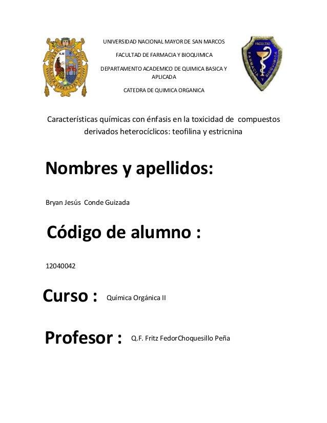 UNIVERSIDAD NACIONAL MAYOR DE SAN MARCOS FACULTAD DE FARMACIA Y BIOQUIMICA DEPARTAMENTO ACADEMICO DE QUIMICA BASICA Y APLI...