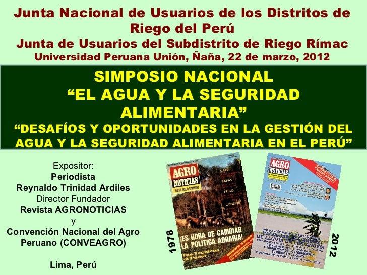 Junta Nacional de Usuarios de los Distritos de                Riego del Perú Junta de Usuarios del Subdistrito de Riego Rí...