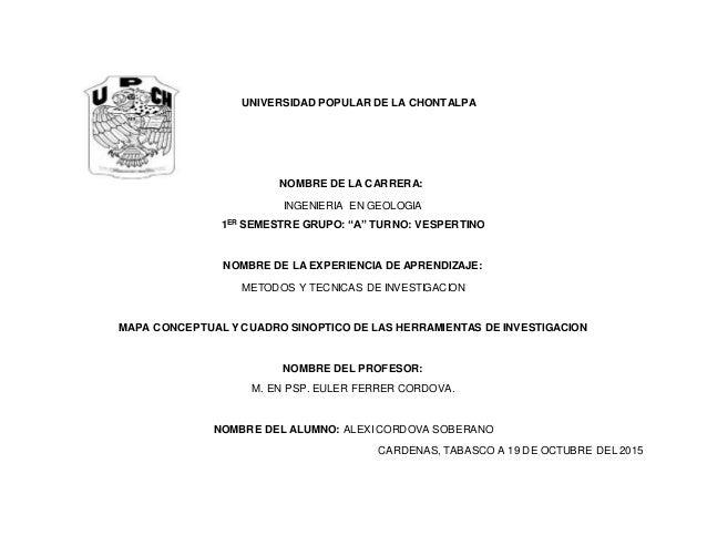 "UNIVERSIDAD POPULAR DE LA CHONTALPA NOMBRE DE LA CARRERA: INGENIERIA EN GEOLOGIA 1ER SEMESTRE GRUPO: ""A"" TURNO: VESPERTINO..."