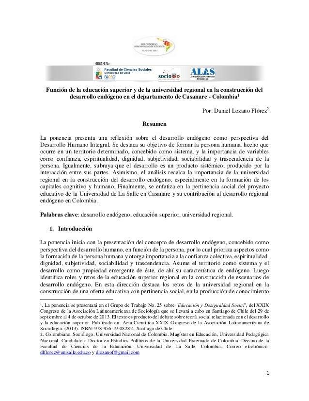 1 Función de la educación superior y de la universidad regional en la construcción del desarrollo endógeno en el departame...