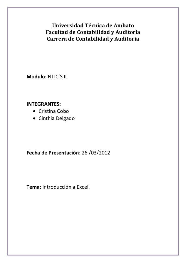 Universidad Técnica de Ambato        Facultad de Contabilidad y Auditoria        Carrera de Contabilidad y AuditoriaModulo...