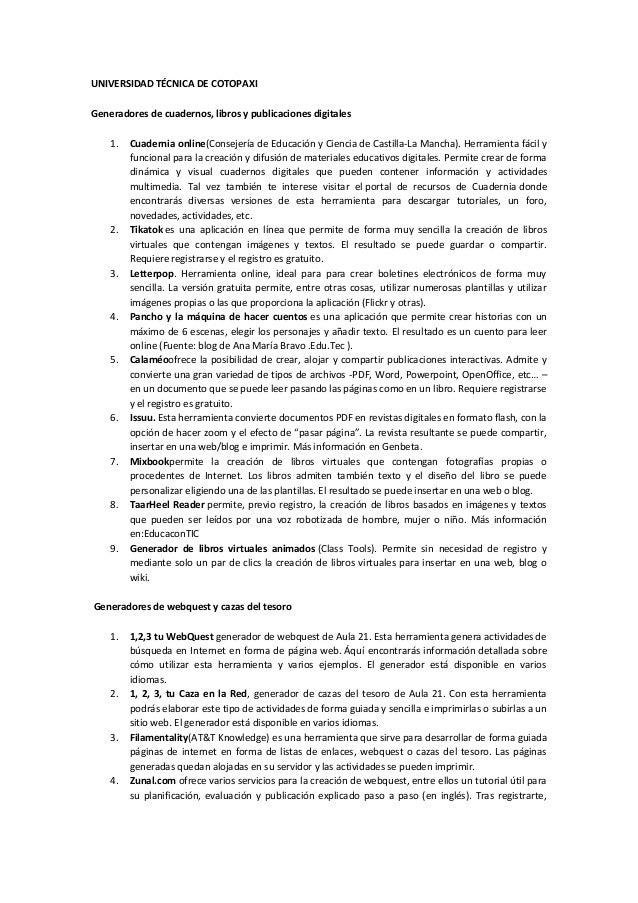 UNIVERSIDAD TÉCNICA DE COTOPAXIGeneradores de cuadernos, libros y publicaciones digitales1. Cuadernia online(Consejería de...