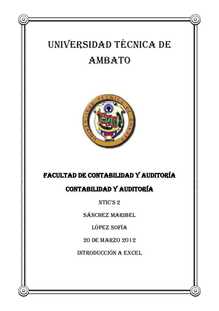 UNIVERSIDAD TÉCNICA DE            AMBATOFACULTAD DE CONTABILIDAD Y AUDITORÍA      CONTABILIDAD Y AUDITORÍA               N...