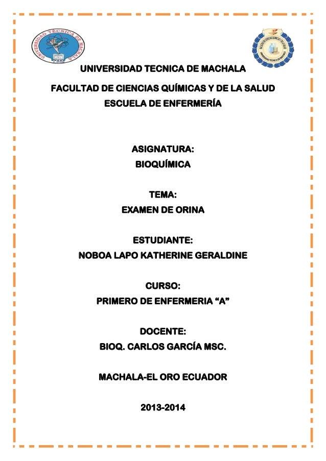 UNIVERSIDAD TECNICA DE MACHALA FACULTAD DE CIENCIAS QUÍMICAS Y DE LA SALUD ESCUELA DE ENFERMERÍA  ASIGNATURA: BIOQUÍMICA T...