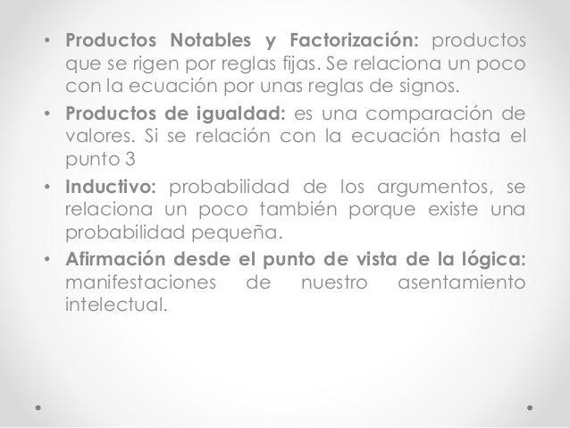 • Productos Notables y Factorización: productos  que se rigen por reglas fijas. Se relaciona un poco  con la ecuación por ...