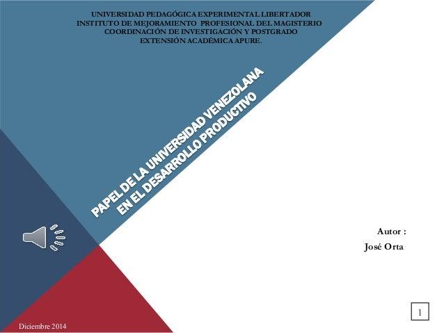 Autor :  José Orta  UNIVERSIDAD PEDAGÓGICA EXPERIMENTAL LIBERTADOR  INSTITUTO DE MEJORAMIENTO PROFESIONAL DEL MAGISTERIO  ...