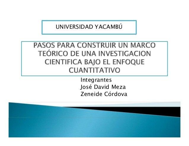 UNIVERSIDAD YACAMBÚ Integrantes José David Meza Zeneide Córdova