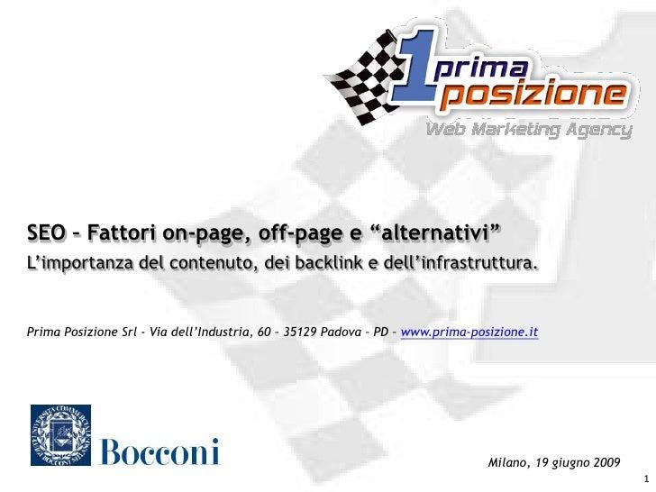 Intervento SEO: Universita Bocconi Giu2009