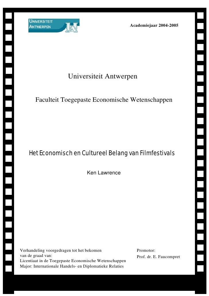 Academiejaar 2004-2005                             Universiteit Antwerpen           Faculteit Toegepaste Economische Weten...
