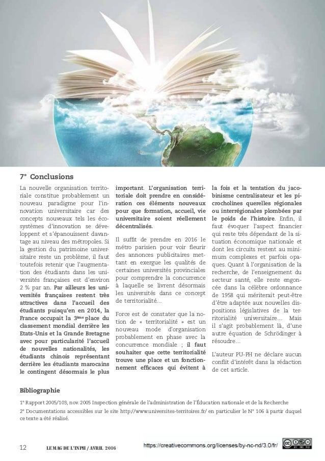 Le MAG de l'INPH / avril 201612 7° Conclusions La nouvelle organisation territo- riale constitue probablement un nouveau p...