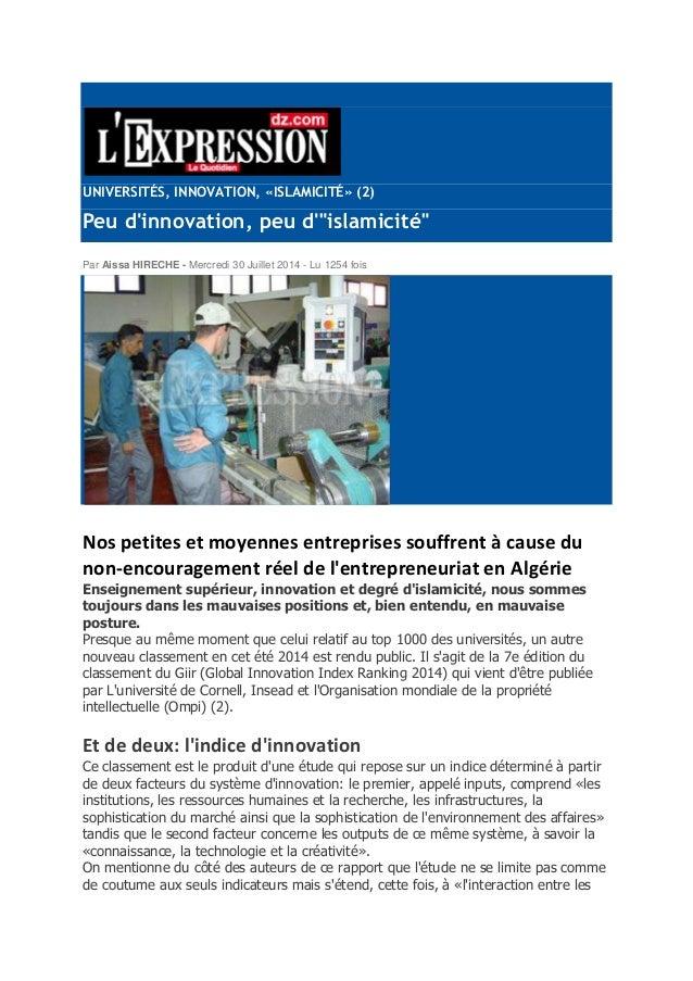 "UNIVERSITÉS, INNOVATION, «ISLAMICITÉ» (2)  Peu d'innovation, peu d'""islamicité""  Par Aissa HIRECHE - Mercredi 30 Juillet 2..."
