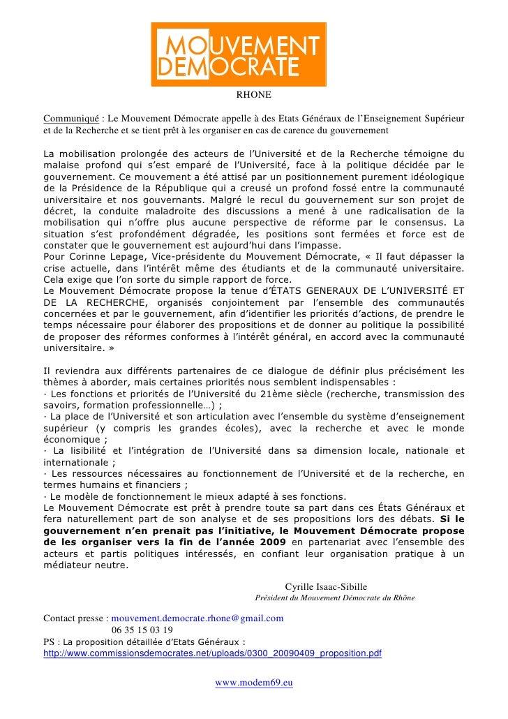 RHONECommuniqué : Le Mouvement Démocrate appelle à des Etats Généraux de l'Enseignement Supérieuret de la Recherche et se ...