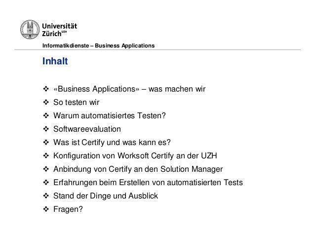 Universität Zürich - erfolgreiches Testing Slide 2