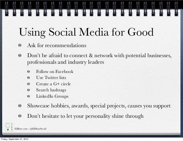 Friday, September 27, 2013; 12. Using Social Media ...
