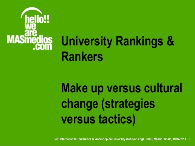 University Rankings &     Rankers     Make up versus cultural     change (strategies     versus tactics)3ed. International...