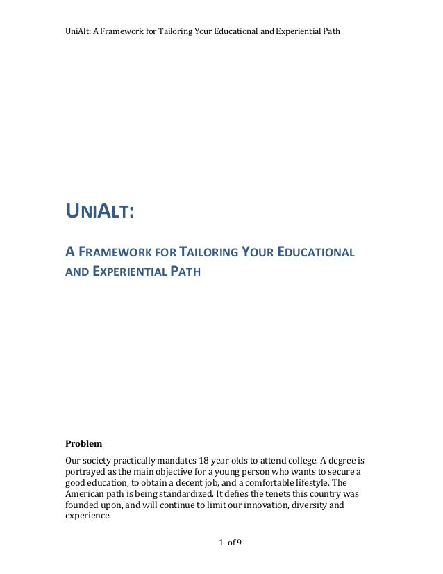 UniAlt: A Framework for Tailoring Your Educational and Experiential Path                              ...