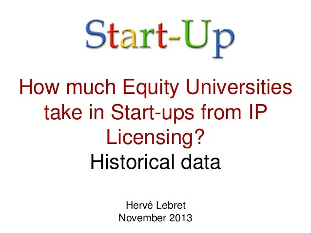How much Equity Universities take in Start-ups from IP Licensing? Historical data Hervé Lebret November 2013