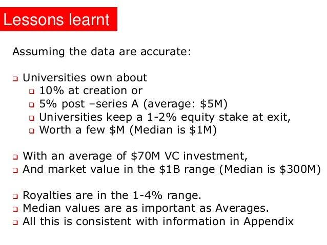 University Equity in Start ups for IP Licensing - Lebret - nov 2013 Slide 3