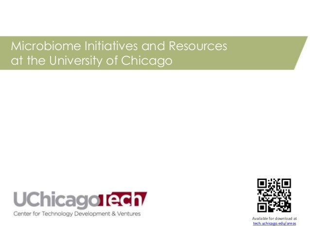 Microbiome Initiatives and Resources at the University of Chicago Available for download at tech.uchicago.edu/areas