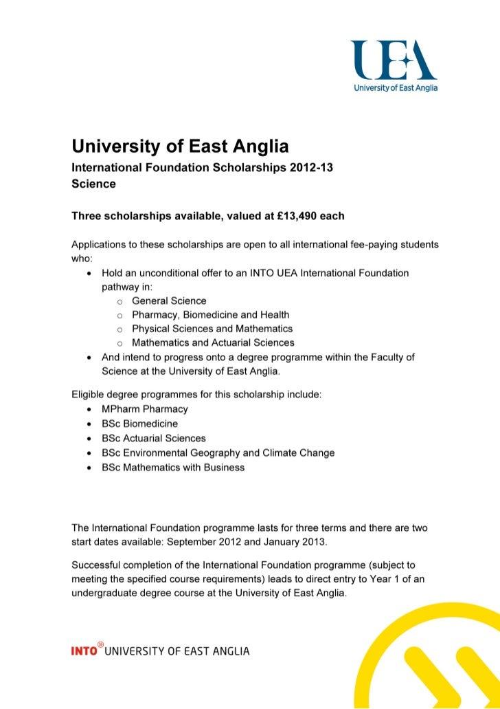 University of East Anglia – International Foundation Scholarships (Science) – Intelligent Partners