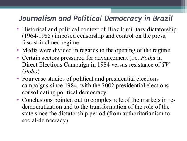 "brazils transformation from an authoritarian regime to a presidential democracy ""authoritarianism in russia: dangers for democracy""  the assertion that an authoritarian government only can lead the country out of the current crisis has become a general fashion nowadays this notion is widely spread among the ruling elite, zealously searching  most acceptable shape of the political regime""12 democracy ny."