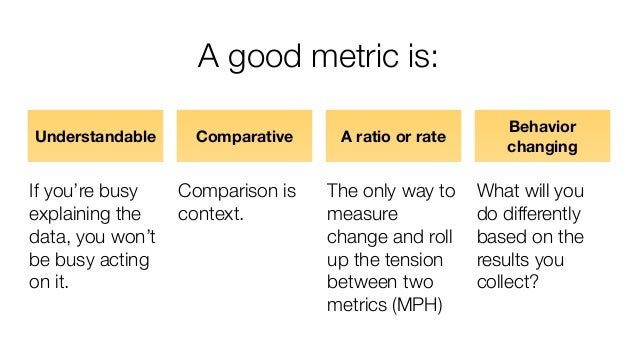 A good metric is: Understandable If you're busy explaining the data, you won't be busy acting on it. Comparative Compariso...