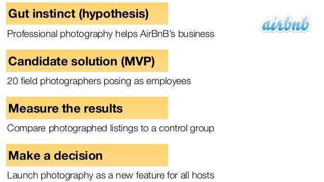 Gut instinct (hypothesis) Professional photography helps AirBnB's business Candidate solution (MVP) 20 field photographers ...