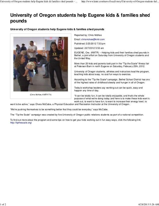 University of oregon students help eugene kids & families