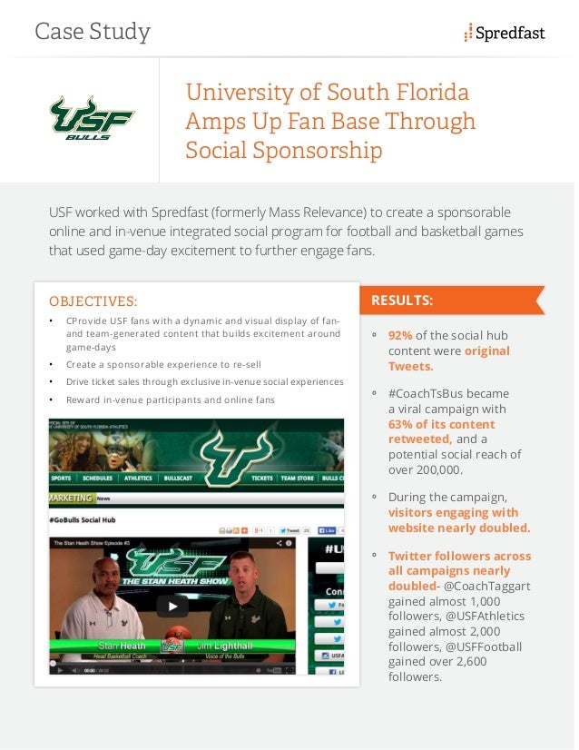 USF worked with Spredfast (formerly Mass Relevance) to create a sponsorable online and in-venue integrated social program ...