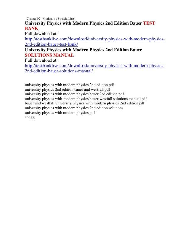 university physics with modern physics 2nd edition bauer test bank rh slideshare net Velocity Physics Solution Science