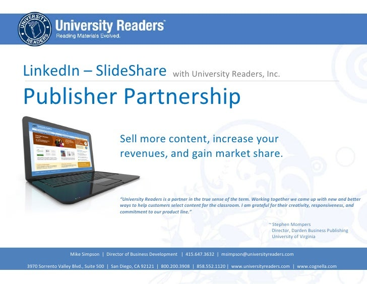 LinkedIn – SlideShare Publisher Partnership  with University Readers, Inc. Sell more content, increase your revenues, and ...