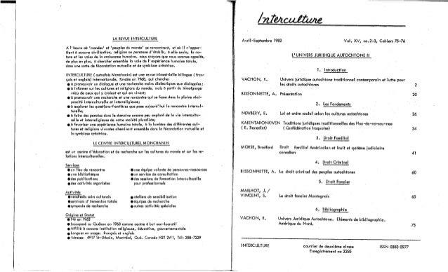 75-76-Univers juridique autochtone: le droit, le politique, les cultures. Cahier II. R. Vachon, A. Bissonnette, E. Newberry, B. Morse, J. Mailhot, S. Vincent. (document à télécharger en format PDF, 3,1Mb). Slide 2