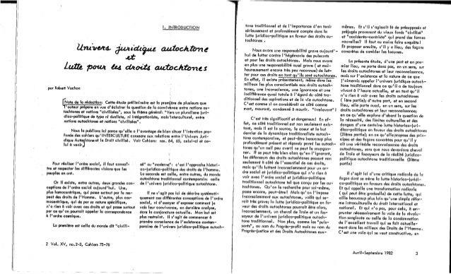 75-76-Univers juridique autochtone: le droit, le politique, les cultures. Cahier II. R. Vachon, A. Bissonnette, E. Newberry, B. Morse, J. Mailhot, S. Vincent. (document à télécharger en format PDF, 3,1Mb). Slide 3