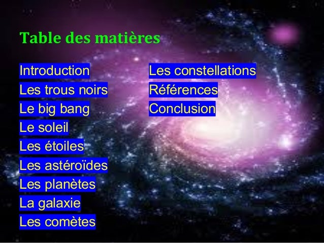 Introduction Les constellations Les trous noirs Références Le big bang Conclusion Le soleil Les étoiles Les astéroïdes Les...