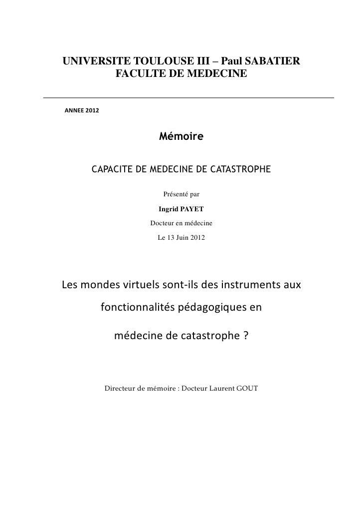 UNIVERSITE TOULOUSE III – Paul SABATIER        FACULTE DE MEDECINEANNEE 2012                            Mémoire       CAPA...