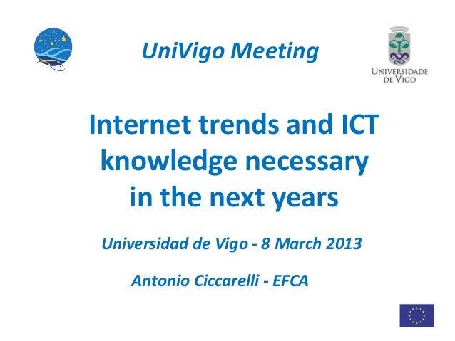 UniVigo MeetingInternet trends and ICT knowledge necessary   in the next yearsUniversidad de Vigo - 8 March 2013   Antonio...