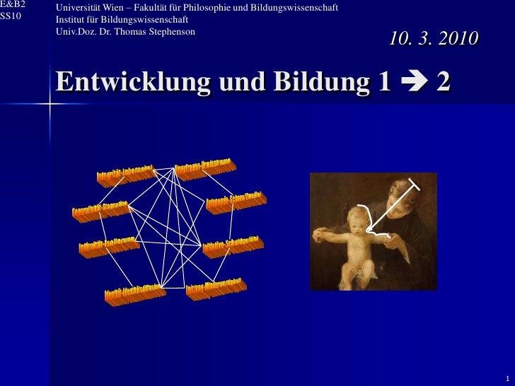 E&B2   Universität Wien – Fakultät für Philosophie und Bildungswissenschaft SS10   Institut für Bildungswissenschaft      ...