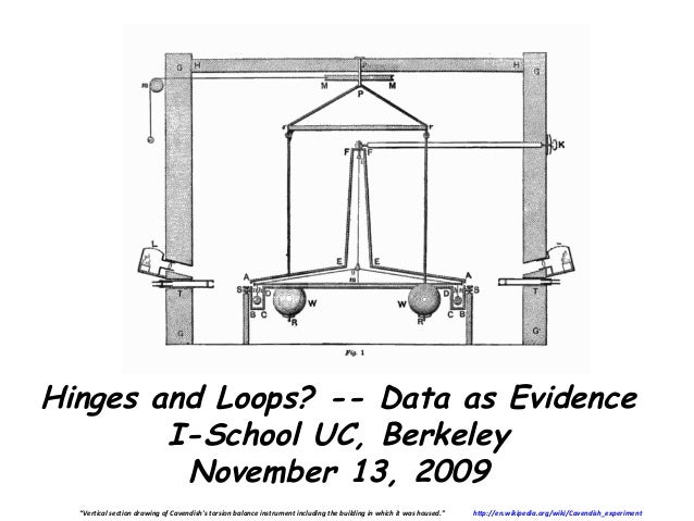 """Hinges and Loops? -- Data as Evidence        I-School UC, Berkeley         November 13, 2009  """"Vertical section drawing of..."""