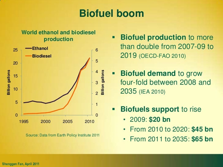 Biofuel boom<br />World ethanol and biodiesel production<br />Biofuel production to more than double from 2007-09 to 2019 ...