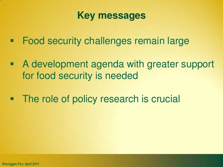 Key messages<br />Food security challenges remain large<br />A development agenda with greater support for food security i...