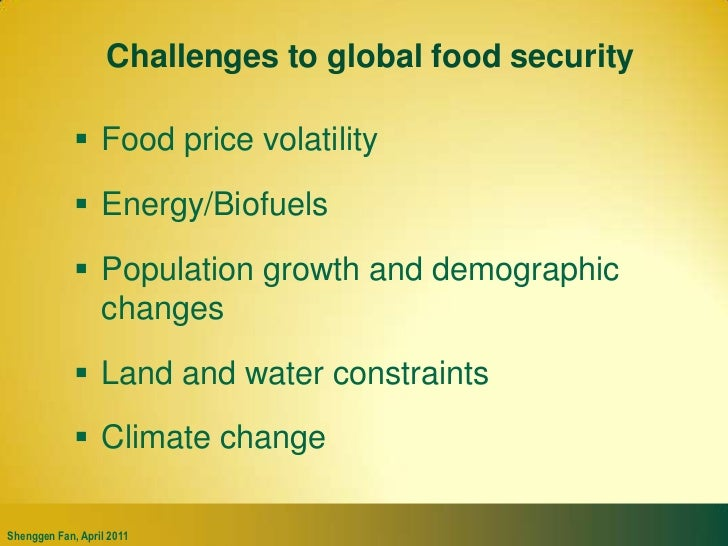 Challenges to global food security<br />Food price volatility<br />Energy/Biofuels<br />Population growth and demographic ...