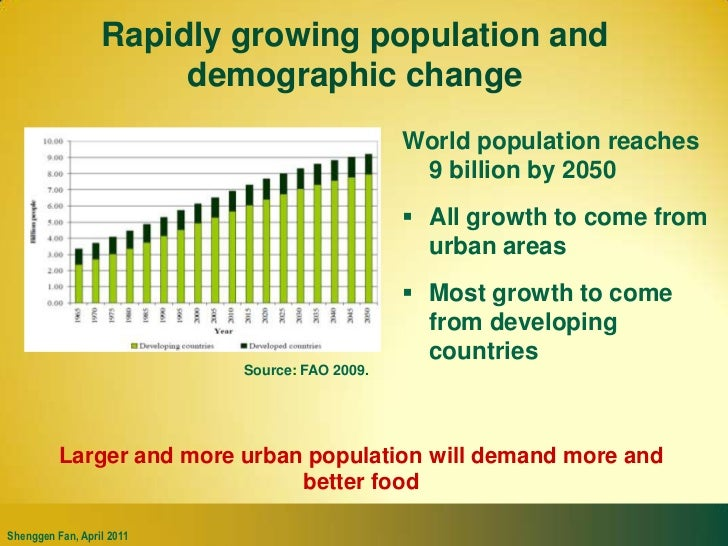 Rapidly growing population and demographic change<br />World population reaches 9 billion by 2050<br />All growth to come ...