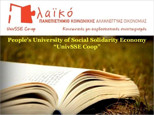 "People's University of Social Solidarity Economy ""UnivSSE Coop"" 1"