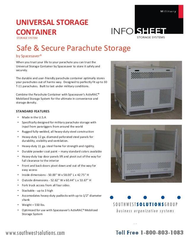 Universal Storage Container Parachute Storage System Info Sheet