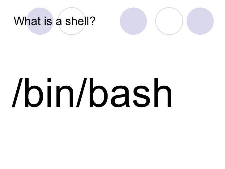 What is a shell? <ul><li>/bin/bash </li></ul>