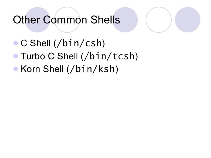 Other Common Shells <ul><li>C Shell ( /bin/csh ) </li></ul><ul><li>Turbo C Shell ( /bin/tcsh ) </li></ul><ul><li>Korn Shel...