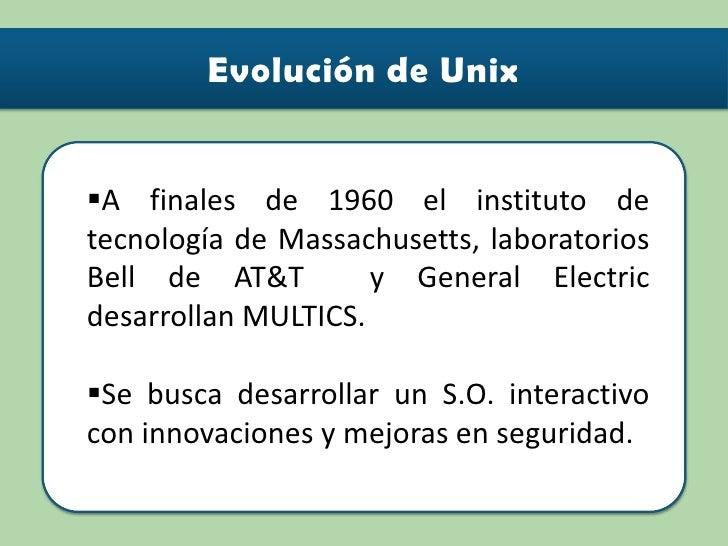 <ul><li>A finales de 1960 el instituto de tecnología de Massachusetts, laboratorios Bell de AT&T  y General Electric desar...