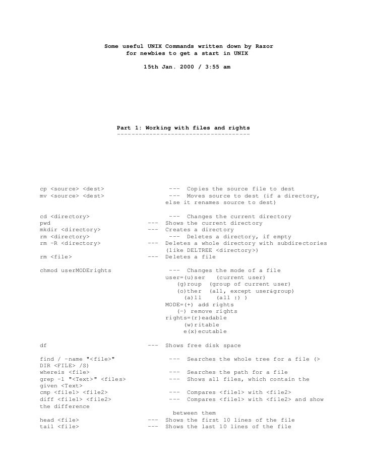 Some useful UNIX Commands written down by Razor                            for newbies to get a start in UNIX             ...